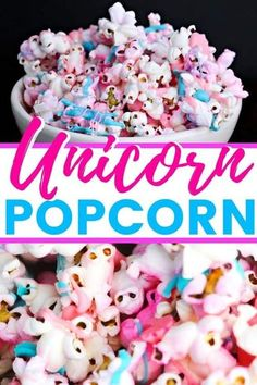 Unicorn popcorn is an easy to make and colorful treat that is perfect for your unicorn themed birthday party or unicorn sleepover! #UnicornParty #Unicorn #Popcorn #PartyFood #UnicornRecipes #UnicornFood #GenderReveal #snacks #EasyRecipe Mini Desserts, Easy No Bake Desserts, Cheesecake Desserts, Unicorn Themed Birthday Party, Birthday Party Snacks, Unicorn Party, Birthday Sweets, Birthday Kids, Strawberry Swirl Cheesecake