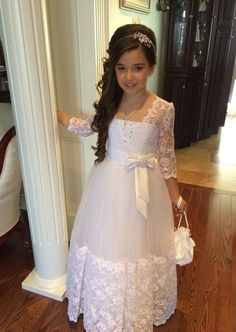First Communion Dresses: Carina - First Communion Dress with Lace Hem and Long Lace Sleeves