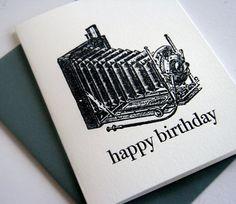 vintage camera letterpress card