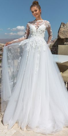 Amazing Tulle Jewel Neckline Cut-out Back A-Line Wedding Dress With Lace Appliques & 3D Flowers & Beadings