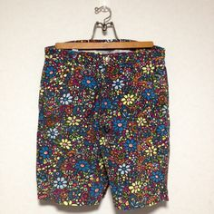 BOHEMIANS Mosaic Flower Patterned Corduroy Short Pant Size M Made in Japan