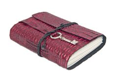Burgundy Alligator Embossed Leather Journal with by boundbyhand