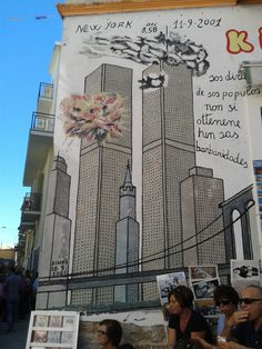 "Street art in Orgosolo, Sardegna. ""The Twin towers, New York City"""