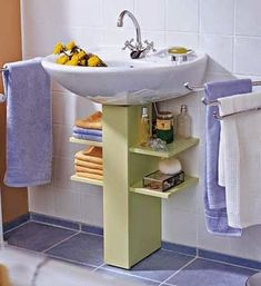 Under a bathroom sink, even a pedestal sink unit, you can add extra storage that. - Under a bathroom sink, even a pedestal sink unit, you can add extra storage that won& take up - Bathroom Storage, Bathroom Interior, Pedestal Sink Storage, Bathroom Organization, Organization Ideas, Bathroom Ideas, Budget Bathroom, Eclectic Bathroom, Towel Storage