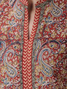Red-Ochre Kalamkari-printed Mandarin Collar Cotton Kurta