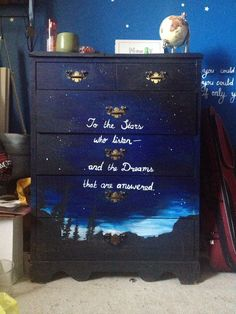 """rowaelin-feysand: """"the-night-court: """"sjmaas-army: """"I painted my dresser!! My all time favourite quote from ACOMAF """" Omg so pretty """" omg this is so BEAUTIFUL """""""