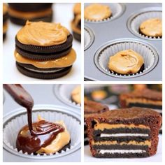 """""""Oreo & Peanut Butter Brownie Cups"""""""