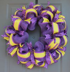 Spring Deco Mesh and Ribbon Wreath by AllWrappedUpInRibbon on Etsy, $50.00