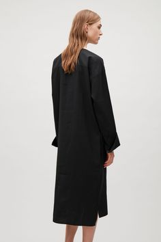 COS image 3 of Long smock shirt dress in Black