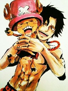 Ace and Chopper - One Piece One Piece Ace, One Piece Manga, Chopper One Piece, One Piece Seasons, One Piece Fanart, Manga Anime, All Anime, Manga Art, Anime Guys