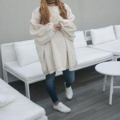 Oversized Sweatshirts Dress with Fleece (Cream/Ivory)