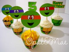 Ninja Turtle Digital Printable Party Cupcake by OpalandMae on Etsy, $10.00