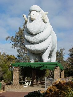 I have no explanation for what appears to be a giant sheep shading a picnic area