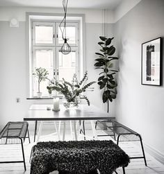 After my post about this beautiful black home yesterday, I post a super white home today. I know this is partially because of photo-editing, but I love how fresh and crisp everything looks here. The contrast of the green plants, black … Continue reading → Minimalist Room, Minimalist Interior, Interior Styling, Interior Design, Design Interiors, Black And White Interior, Flat Ideas, Super White, White Houses