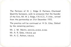 Harold John Ridge retires and practice becomes Ridge and Partners.