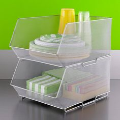 Bins that STACK is key for optimizing space, according to Professional Organizer Barbara Reich.