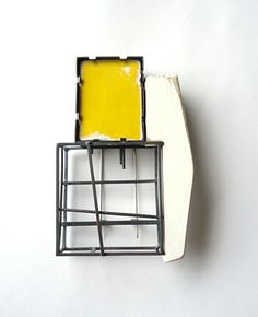 Lauren Markley Contemporary Jewellery. Influenced by the Bauhaus. Industrial form.  Metal framed geometric shapes with pure colour.