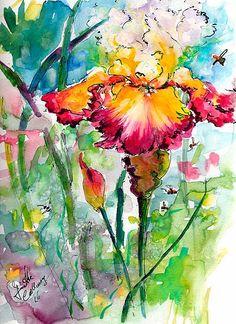 Bearded Iris Flowers and Bees Original Watercolor and Ink by Ginette Callaway , Original Painting - Ginette Fine Art, The Art of Ginette Callaway  - 1