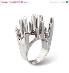 Venta de viernes negro el 30% de anillo de NUEVA YORK, único anillo de plata, anillo Cocktail de plata, anillo de plata grande, declaración ...
