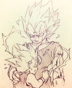 :o dragon ball dragonball z father and son hand on another's back hug looking at another majin vegeta male focus monochrome multiple boys open mouth simple background smile spiked hair super saiyan sweatdrop tkgsize traditional media trunks (dragon b Dragon Ball Z, Goten Y Trunks, Akira, Anime Drawings Sketches, Pokemon, Animes Wallpapers, Manga Art, Illustration, Artwork
