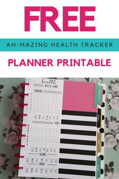 This planner printable health tracker will help with your health goals - fits almost any planner from To Do Planner, Planner Tips, Planner Supplies, Free Planner, Planner Pages, Happy Planner, Printable Planner, Planner Stickers, Free Printables