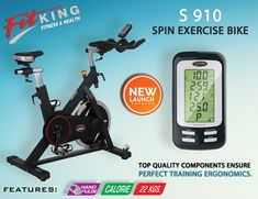 Premium commercial spin bike. Step through frame for easy access. Belt driven mechanism for ultra smooth operation. Computer LCD display time, speed, distance, calorie & pulse. Completely adjustable seat & handle, comfortable pedals and console angle for optimum ergonomics.