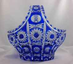 Bohemian Limited Edition Glass Basket in Cobalt Blue with Queen Cut