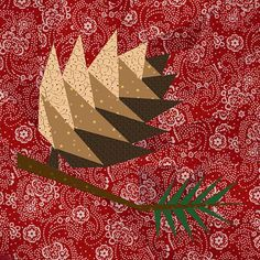 Pine Cone paper pieced quilt block pattern PDF by BubbleStitch