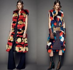 Marni Italy 2015 Pre Fall Autumn Womens Lookbook Presentation - 1960s Sixties Retro Furry Waistcoat Stripes Coat Knit Bejeweled Dress Flare Pants Trousers Vest Waistcoat Belted Waist Flowers Florals Botanical Print Graphic Pattern Gloves Windowpane Check Sweater Jumper Arm Warmers Embellishments Adornments Bejeweled Midi Skirt Flap Pockets Weave Boots Ornamental Peacoat Blazer Quilted Asymmetrical Hem