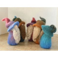 Think I may have to get these..our Fall ones need a break. A Very Happy Band of Needle Felted Gnomes by all4fiberarts on Etsy, $28.00