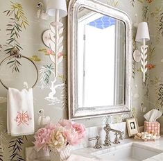 wallpaper, sconces