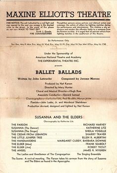 26 best musicals with a majority of roles for women images on the susanna and the elders section of ballet ballads jerome moross and john latouche fandeluxe Image collections