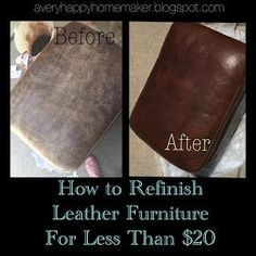 A Very Happy Homemaker: Refinish Leather Furniture For Less Than $20