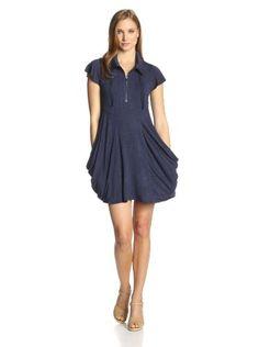 513d9af04 Kensie Women's Drapey French Terry Short Sleeve Dress, Heather Navy,  X-Large kensie