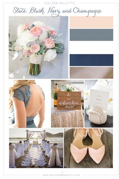 Navy, Blush, Slate Gray, and Champagne Nautical Wedding Color Palette by Grace and Serendipity