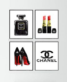 Chanel Noir perfume Set of Chanel painting, Chanel logo print, Christian Louboutin Shoes print, Chanel poster, Chanel warecolor painting - Coco chanel - perfume Chanel Logo, Chanel Poster, Chanel Print, Chanel Chanel, Fashion Wall Art, Fashion Painting, Tableau Logo, Perfume Chanel, Chanel Lipstick