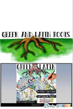 Greek and Latin Roots all school year! This vocabulary resource combines a hands-on interactive fan, vocabulary notebook pages, the digital versions compatible with Google Drive. There are over 80 roots to choose from and a blank template for teachers and students to add your own. Greek and Latin roots are the foundation of building vocabulary. Why not make it fun! #greekandlatinroots #vocabulary #middleschoolela #englishteacher #vocabularylessons #sketchnotes