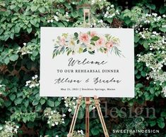 Rehearsal Dinner Welcome Sign Template, Floral Wedding Rehearsal Signs, Rustic Wedding Rehearsal Decor, Editable Rehearsal Dinner Signs INSTANTLY download and edit your invitation by using TEMPLETT! Rustic Rehearsal Dinners, Rehearsal Dinner Decorations, Backyard Wedding Decorations, Engagement Decorations, Wedding Rehearsal, Small Wedding Decor, Rustic Wedding Signs, Floral Wedding, Wedding Ideas