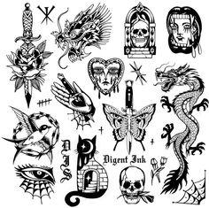 Traditional Tattoo Inspiration, Traditional Tattoo Sketches, Clock Tattoo Design, Tattoo Design Drawings, Tattoo Flash Sheet, Tattoo Flash Art, Black Ink Tattoos, Small Tattoos, Traditional Tattoo Black And White