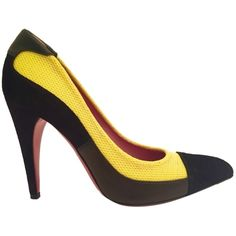Pre-owned Prada Black And Yellow Pumps ($155) ❤ liked on Polyvore featuring shoes, pumps, black and yellow, leather pumps, high heel pumps, black shoes, black high heel shoes and prada
