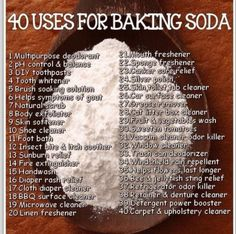 40 uses of baking soda-- we will probably have a few boxes of this hanging around the house, I would prefer to use natural cleaners like lemon, vinegar, and baking soda. Household Cleaning Tips, Homemade Cleaning Products, Cleaning Recipes, House Cleaning Tips, Natural Cleaning Products, Cleaning Hacks, Borax Cleaning, Household Cleaners, Teeth Cleaning