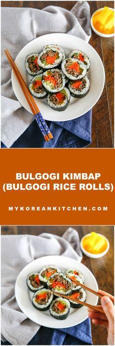 Bulgogi Kimbap (Bulgogi Rice Rolls) | MyKoreanKitchen.com