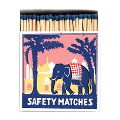 Vintage Long Matches-Home Accessories-Archivist-The Flamboyant-Brassica Mercantile Vintage Inspiriert, Balloon Gift, Air Balloon, Matchbox Art, Blue Tips, Home Candles, Search And Rescue, Pink Elephant, Artwork Design