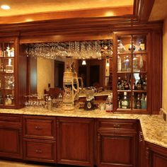 Basement Idea Photo Wooden Bar | 69 bar Mediterranean Basement Design Photos
