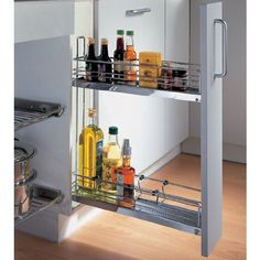 Liquor storage. Hafele Chrome 2-Tier Base Cabinet Pull-Out w/ Dampening Function by Hafele, http://www.amazon.com/dp/B006GSGTI2/ref=cm_sw_r_pi_dp_EbVhrb040KP17