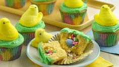 Easter surprises have never been so sweet! Bake up these festive Easter cupcakes, filled with colorful sprinkles and topped with a cheery PEEPS® chick.