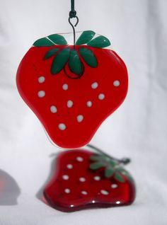 Yummy Fused Glass Strawberry by MooniGooni on Etsy, £4.50