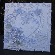 Wedding Card. Lilac/white.