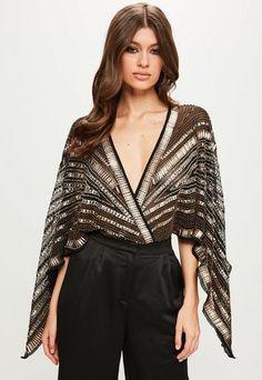 d6d6ed5d7 Peace + Love Black Kimono Embellished Bodysuit