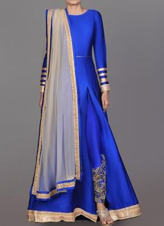 Royal Blue and Gold Embroidered Pant Style Anarkali